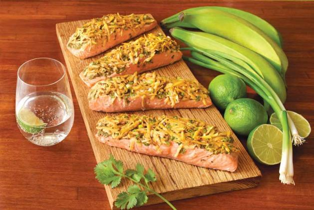 Plantain crusted salmon fillets