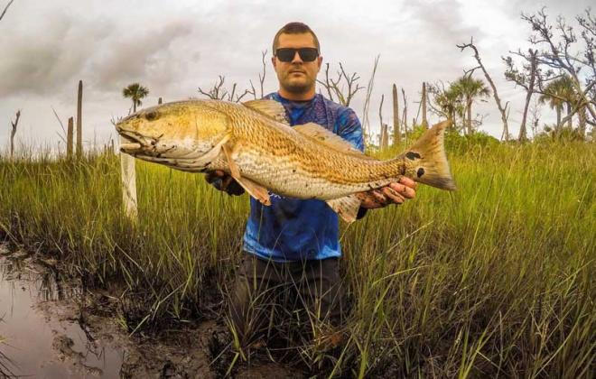 Beaches local Will Vogt with a healthy backwater Redfish he caught and released. (photo submitted)