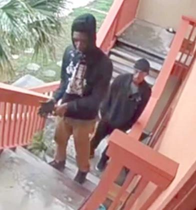 The Neptune Beach Police Department is actively looking for these suspects regarding the shooting at Park Place Apartments. (photo submitted by the Neptune Beach Police Department)