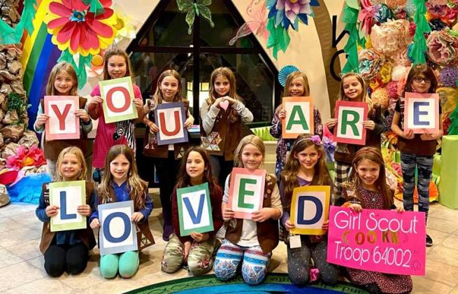 Girl Scout Troop 64002 sends words of encouragement to Avante Villa Nursing Home residents. (photo submitted)