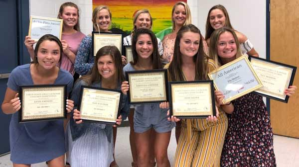 Coach Johnston and Ponte Vedra High School lacrosse players display their awards. (photo submitted)